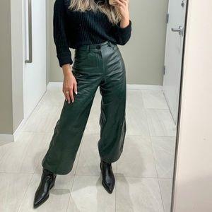 Zara Faux Leather Green Wide-Leg Trousers